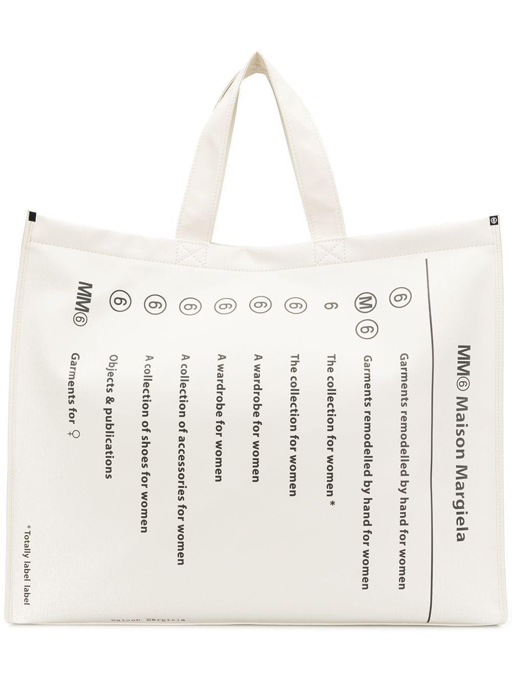 Mm6 Maison Margiela Totally Label Label Large Shopper Tote