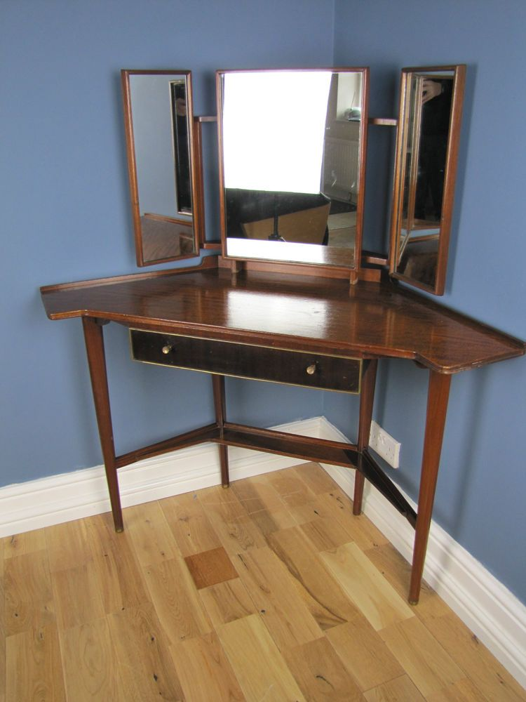 A Mid Century Danish Cherry Corner Dressing Table With Mirror
