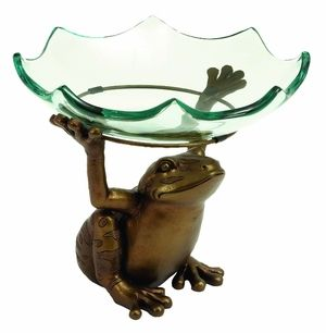 Home Decor – Scallop Glass Bowl on top of Standing Frog Design Brand Woodland