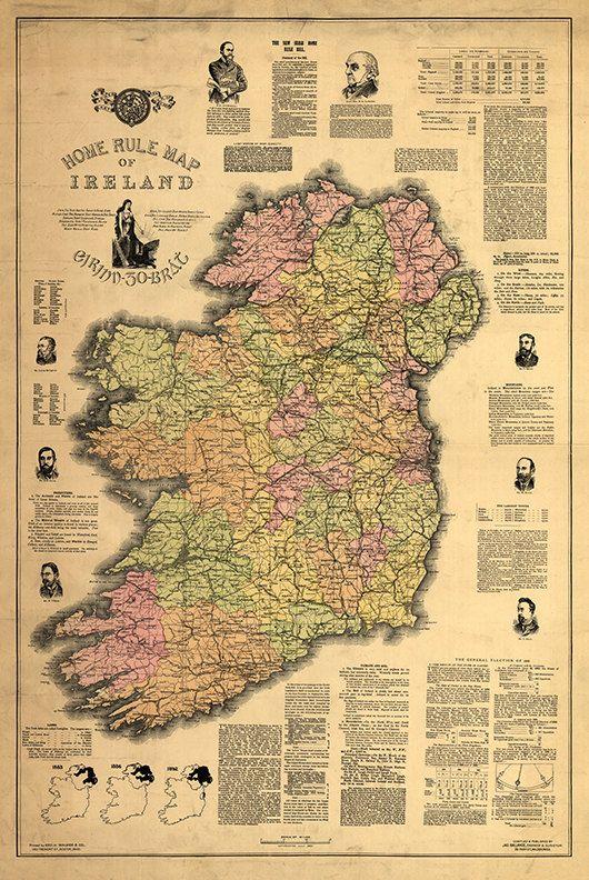 Home Rule Map Of Ireland 1893 Vintage Restoration Hardware Etsy Map Print Old Map Poster Prints