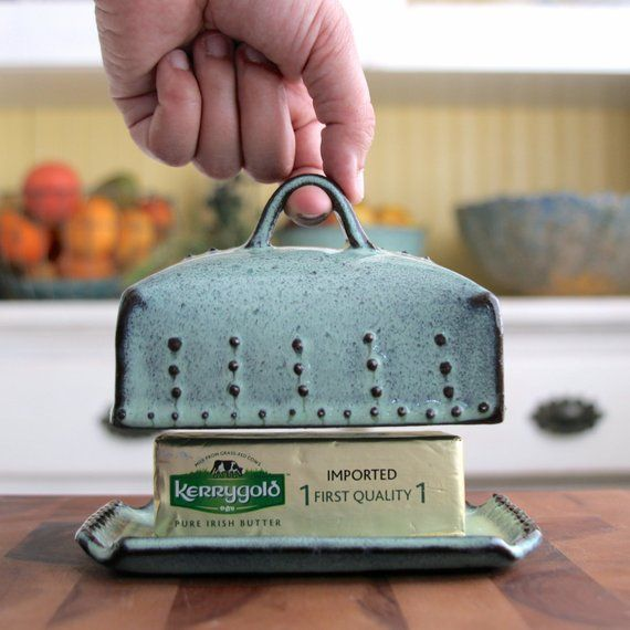 Photo of Butter Dish Size with Lid and Handle – Rustic Aqua Mist – French Country Home Decor – ORDER OPTIONS