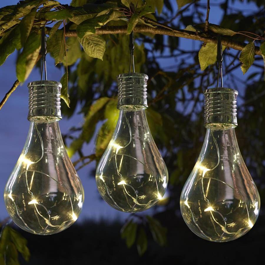 Set Of Six Solar Lightbulb Hanging Garden Lights Lightbulb