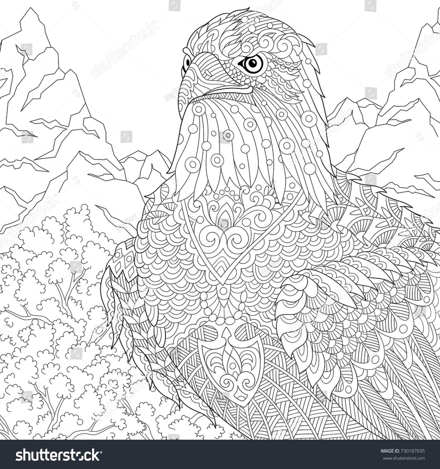 Coloring Page Of American Bald Eagle National Symbol Of The Usa
