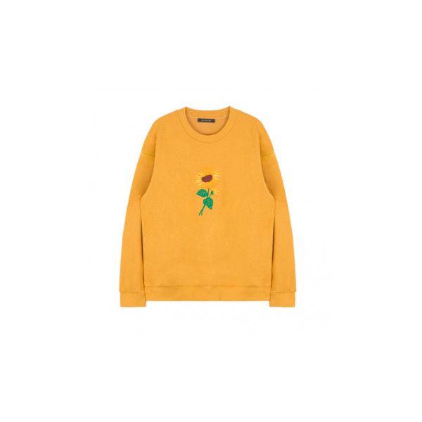 Sunflower Embroidery Sweatshirt 14 Liked On Polyvore Featuring Tops Hoodies Sweatshirts