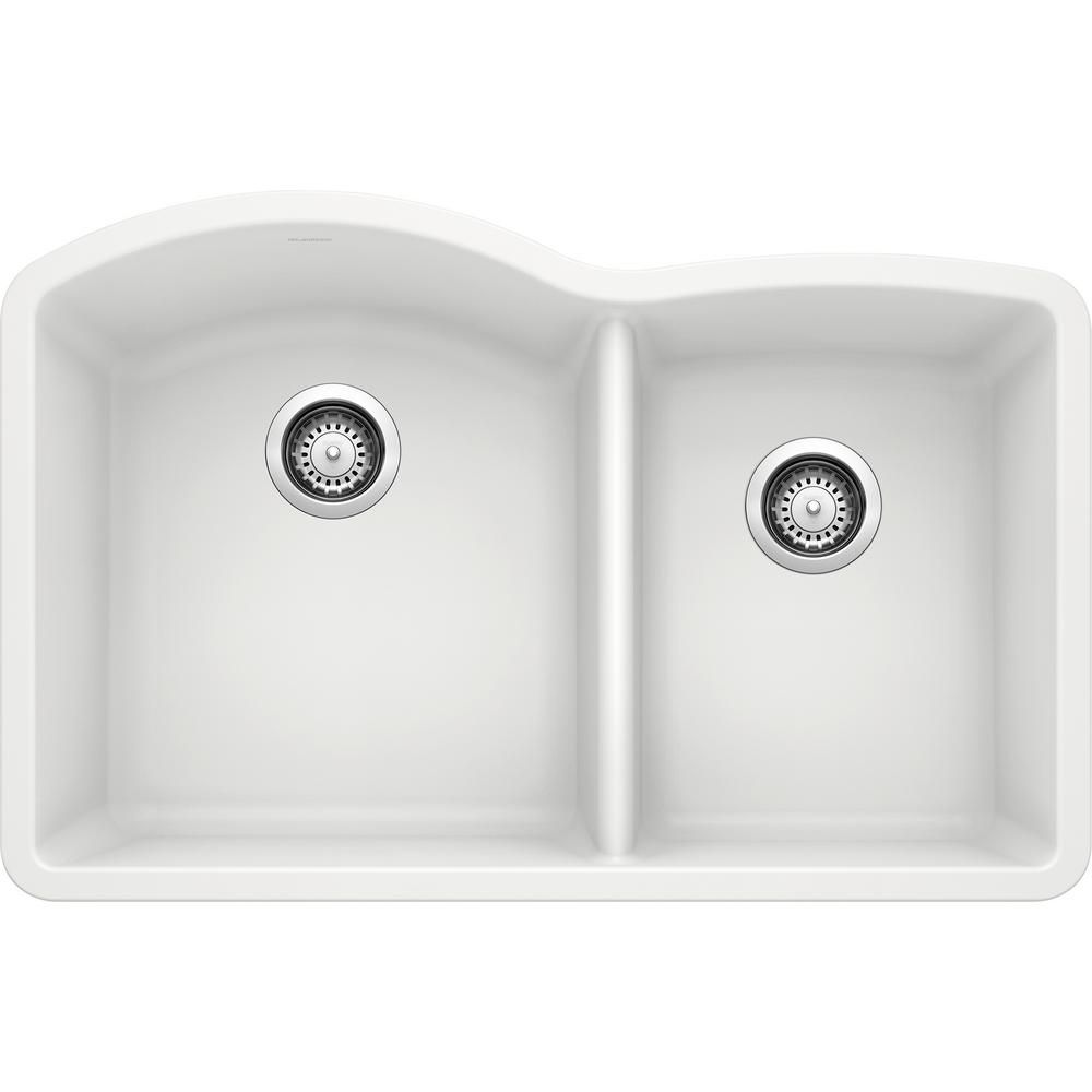 Blanco Diamond Undermount Granite Composite 32 In 60 40 Double Bowl Kitchen Sink In White Products In 2019 Double Bowl Kitchen Sink Sink Kitchen