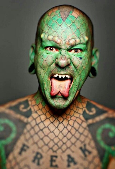4f8bf2e61 Oh I've heard of this guy! He is known as Lizard Man, for his appearance,  and he performs at freak shows and stuff like that