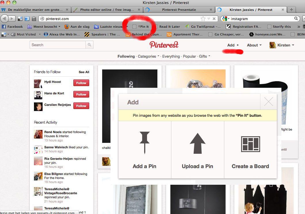Je kunt een nieuwe beeld op je moodboard plaatsen door op add te klikken. Je kunt het beeld dan uploaden van je eigen computer of van een url van een website. Daarnaast kun je de pin-button installeren in je browser. Daarvoor ga je naar 'help' en klik je op goodies.