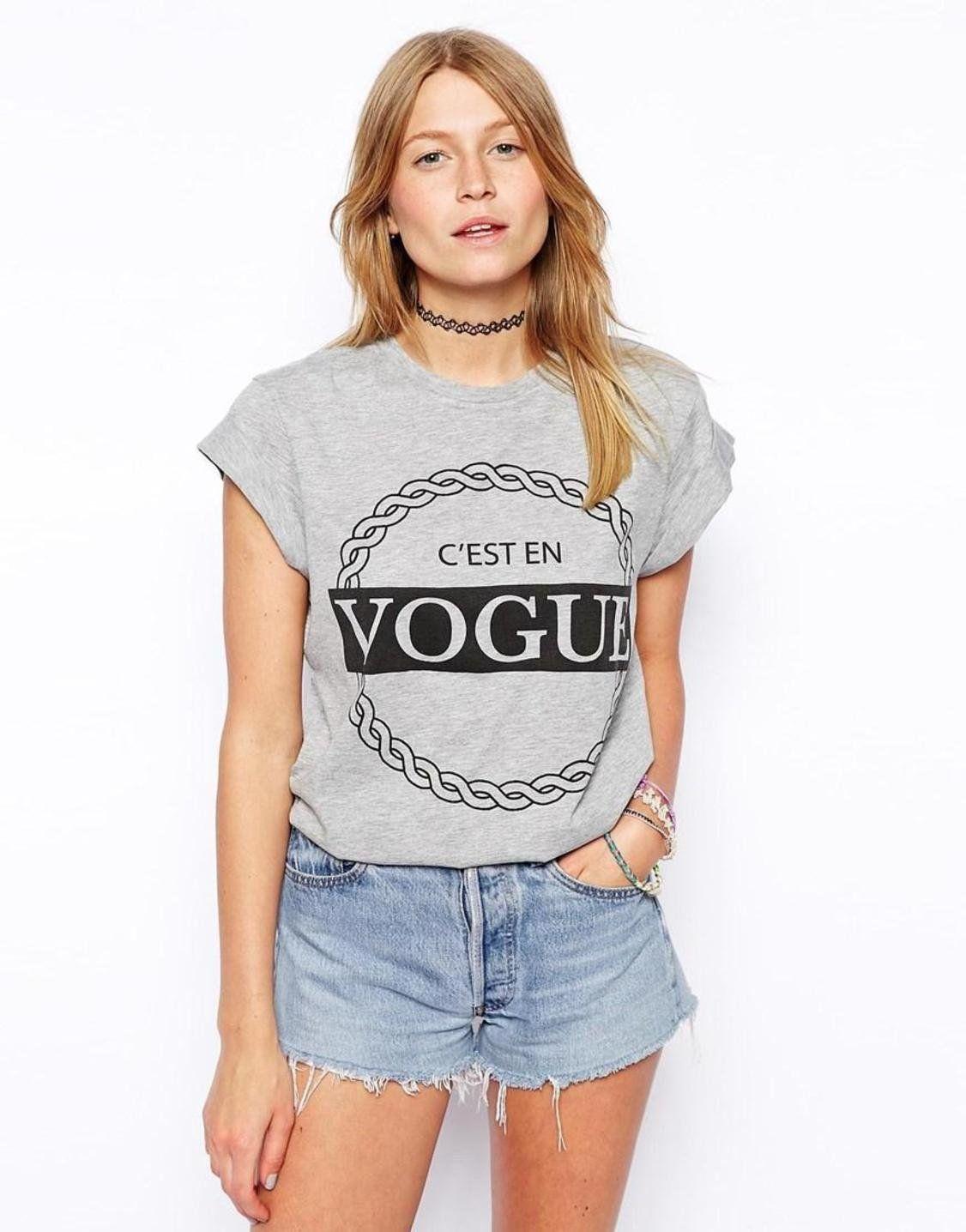 ASOS T-Shirt with C'est en Vogue Print http://picvpic.com/women-tops-t-shirts/asos-t-shirt-with-c-est-en-vogue-print?ref=9MoYrR