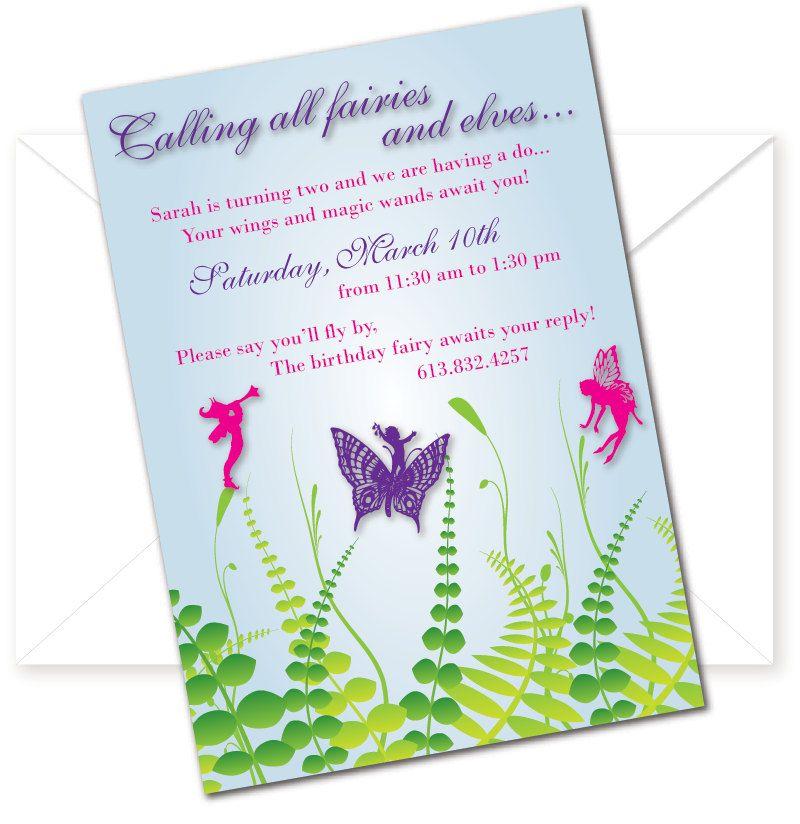 Fairy Birthday Party Invitation Fairy birthday party