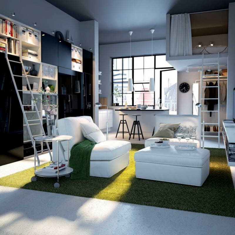 Storage Ideas for Small Spaces With Green Carpet Home Sweet Tiny