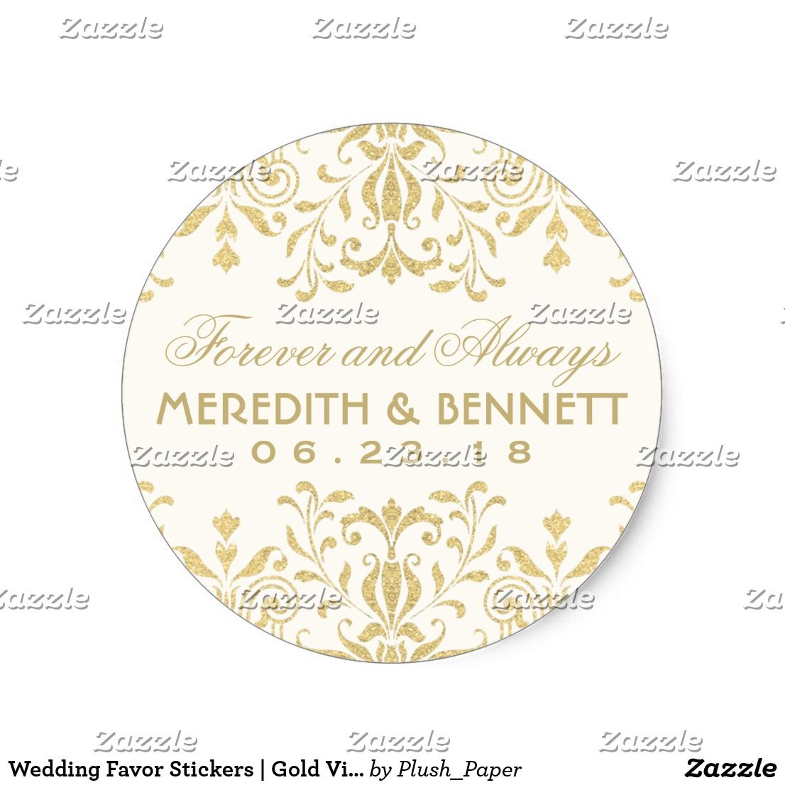 Wedding Favor Stickers | Gold Vintage Glamour | Favors and Weddings