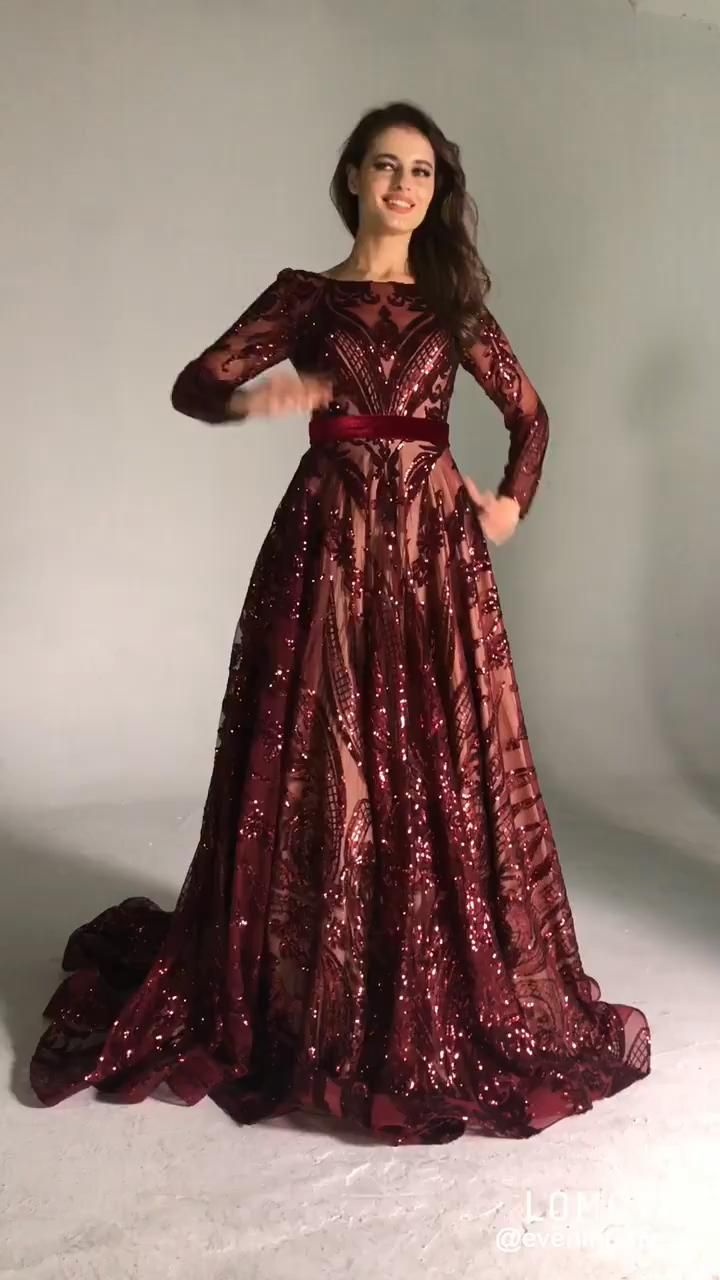 Wine Red A-Line Luxury Evening Dresses 2020