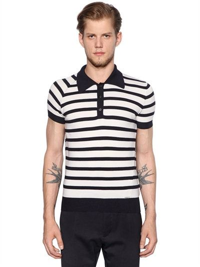 DSQUARED2 STRIPED WOOL KNITTED POLO SHIRT, WHITE/NAVY. #dsquared2 #cloth #polos