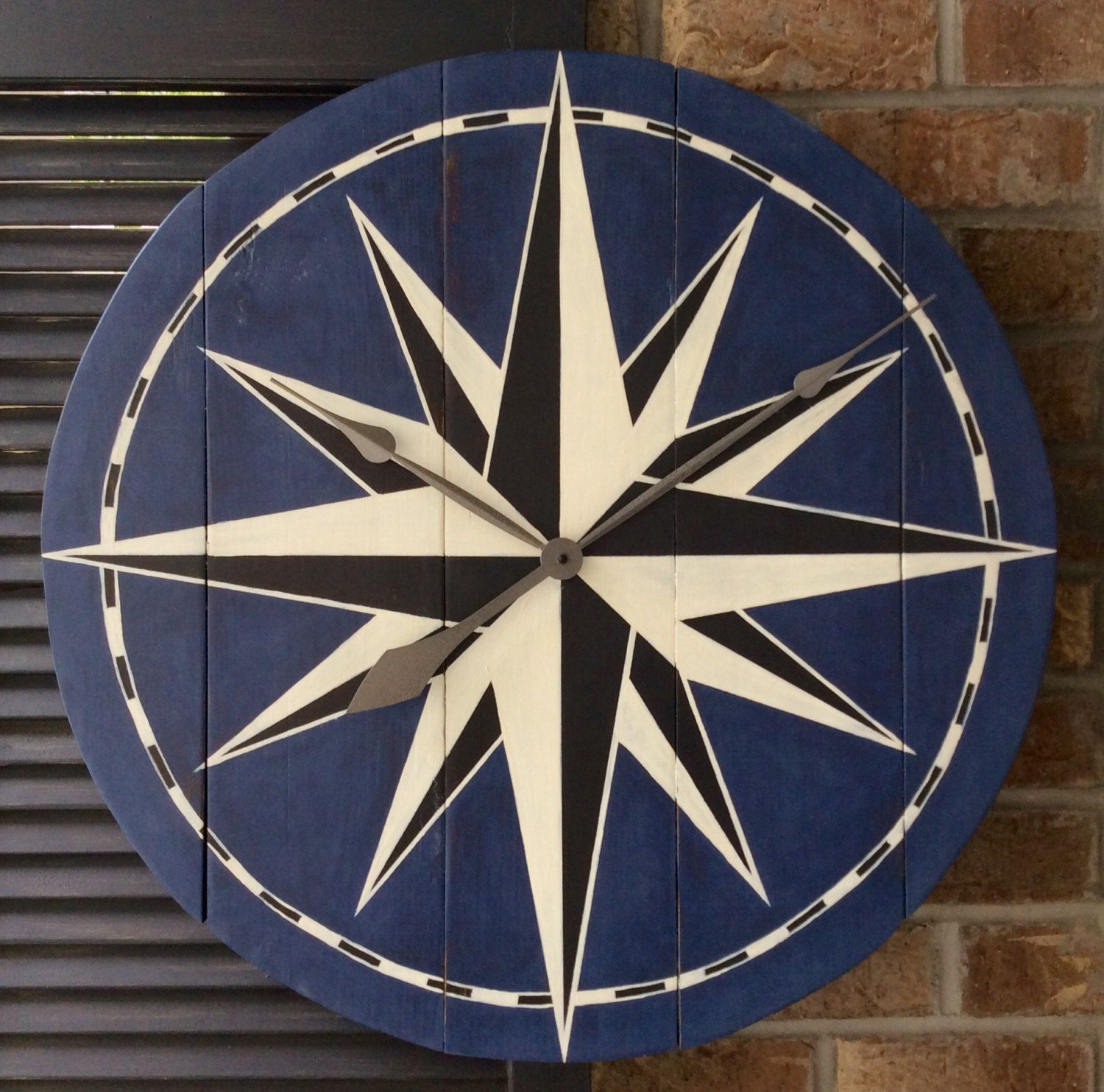 Compass Rose Painted Wall Clock by DenahDesigns on Etsy