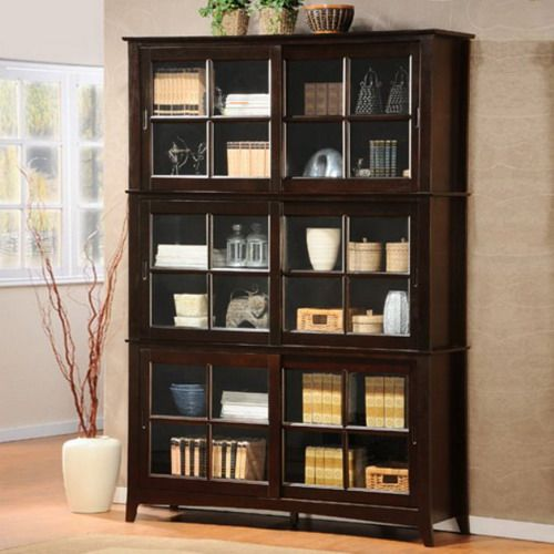 Homelegance Barrister Wood Bookcase With Sliding Glass Door In