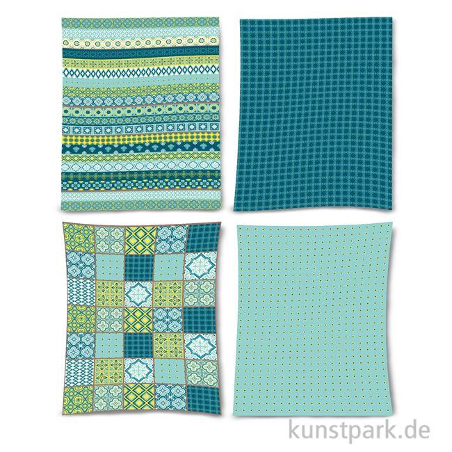 Decoupage Papier 25x35 Cm - 80 Blatt Blautöne