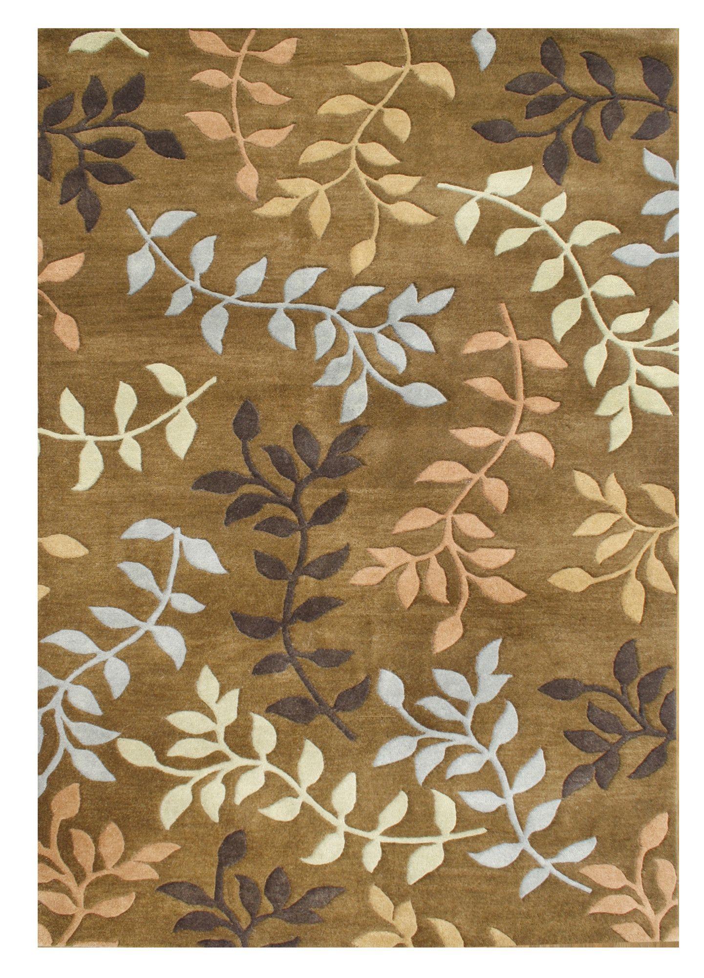 De Aviles Hand-Tufted Brown Area Rug