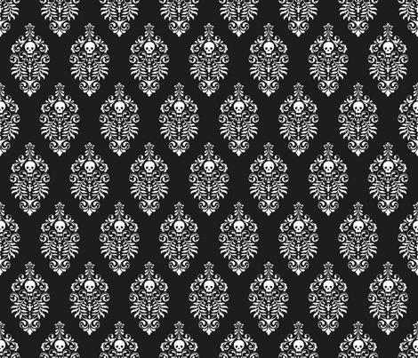 Skull Damask - white on black fabric, wallpaper, or gift wrap by edenki on Spoonflower - custom fabric