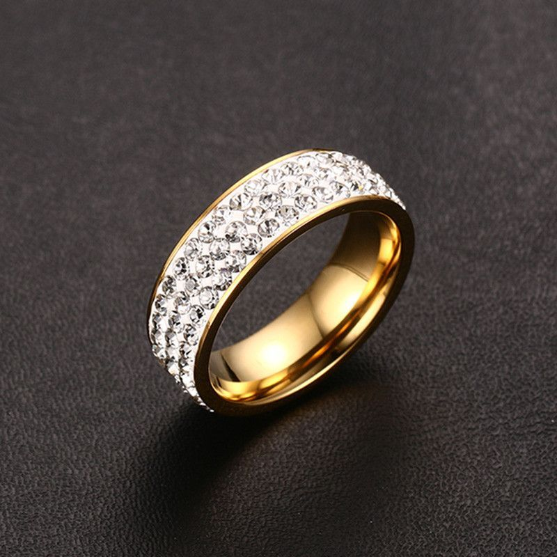 Women Crystal Rings Wholesale Gold Plated Stainless Steel Wedding ...