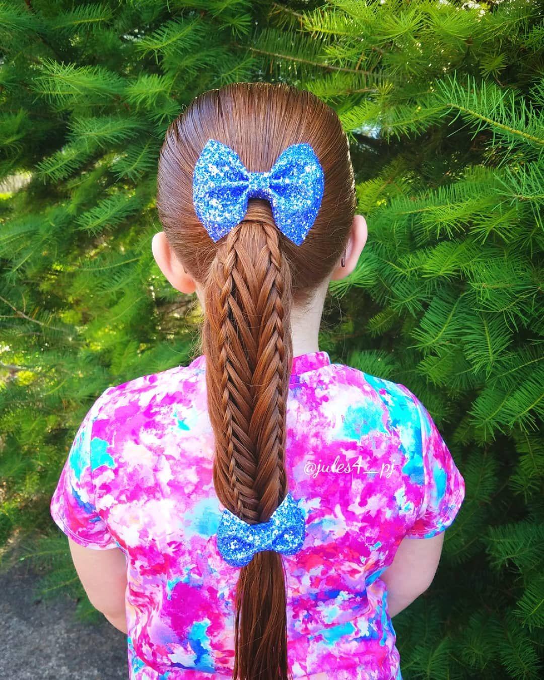 Ponytail woven braid hair bows braids for kids easy kid