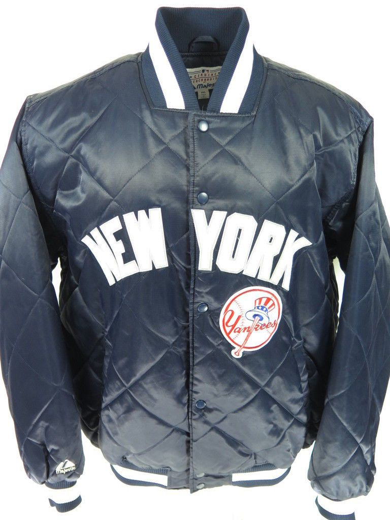 Majestic Athletic Blue Quilted Satin Mlb New York Yankees Jacket 2xl New York Yankees Yankees Jackets [ 1024 x 768 Pixel ]