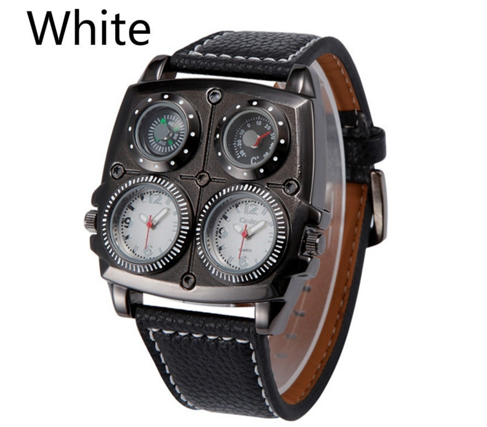 oulm men s survival watch compass and thermometer analog oulm men s survival watch compass and thermometer analog leather band