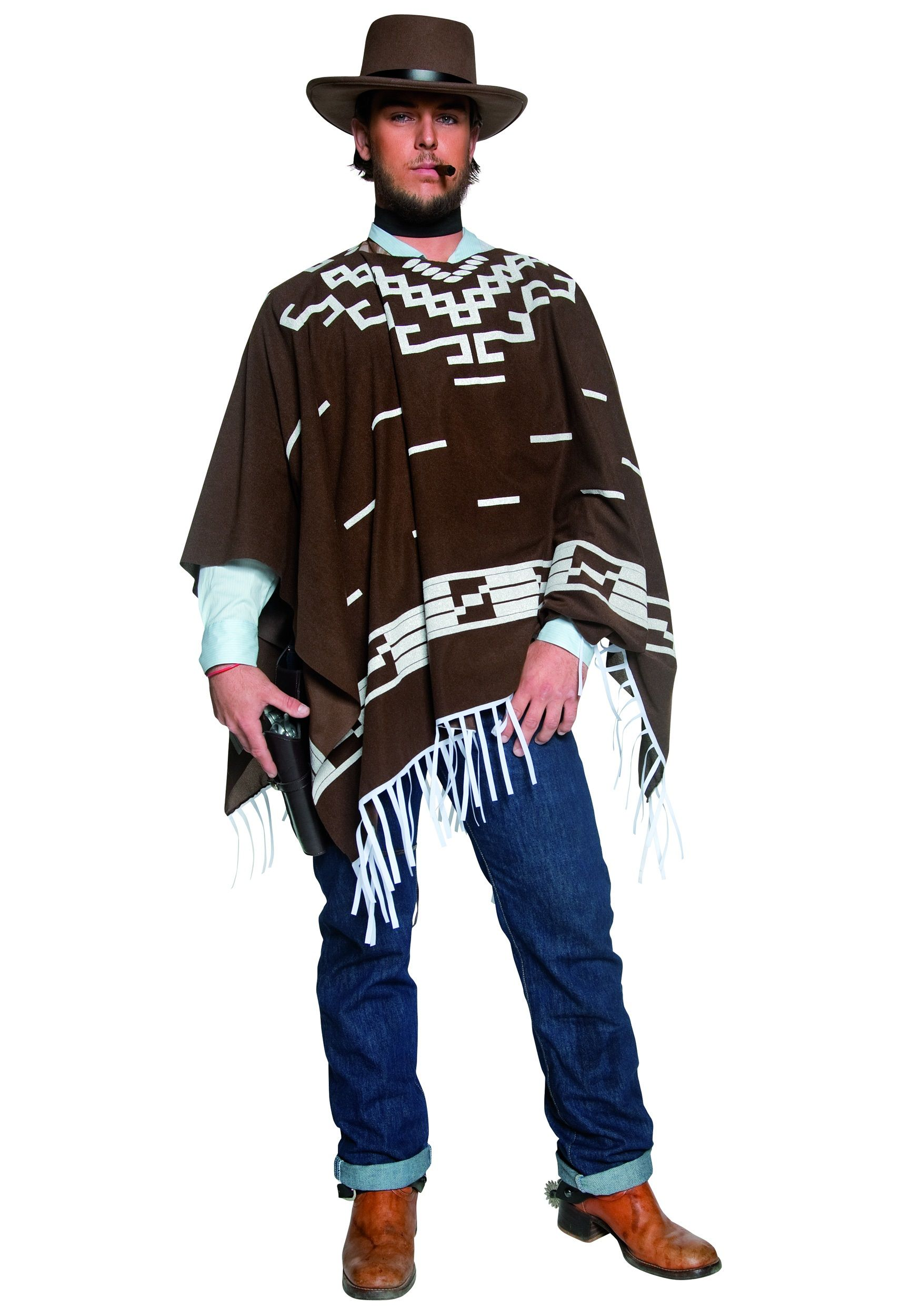 a2f0684edcc Through the Years Costumes Cowboy Costumes Mens Poncho Gunman Costume