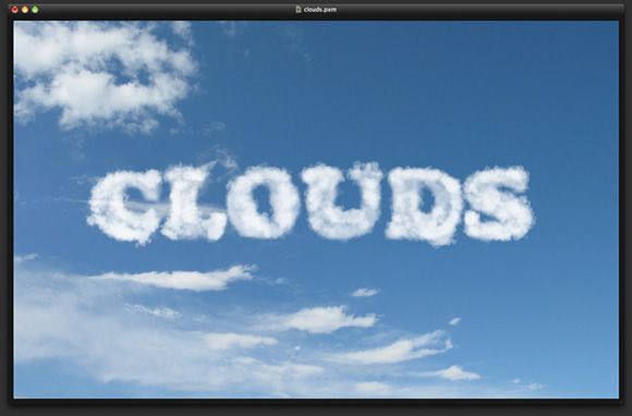 Clouds Text Effect in Pixelmator | Photography | Text