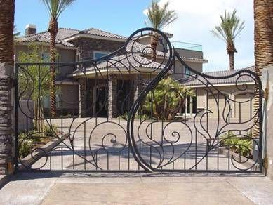 Porte, portail, en, fer, forgé, portillon, portail métallique ...