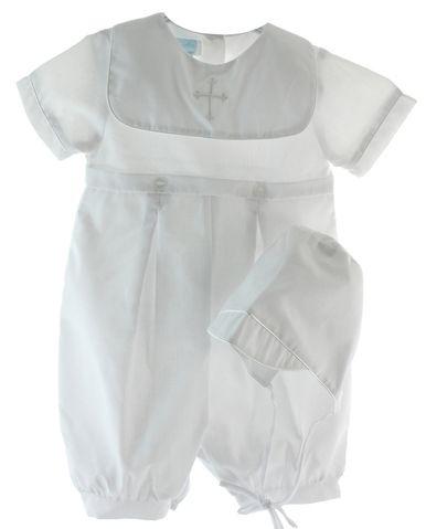 Infant Baby Boys White Satin Romper Suit Outfit Set Bib Hat Christening Baptism