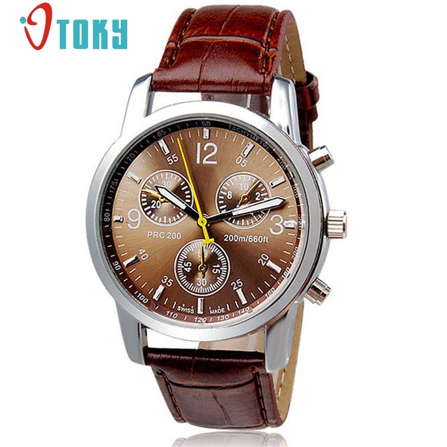 d7a7f7c9235 Leather · cool OTOKY Wristwatches Male Brown Faux Leather Quartz Watches  Wrist Watch for Men Gift 1pc Relogio