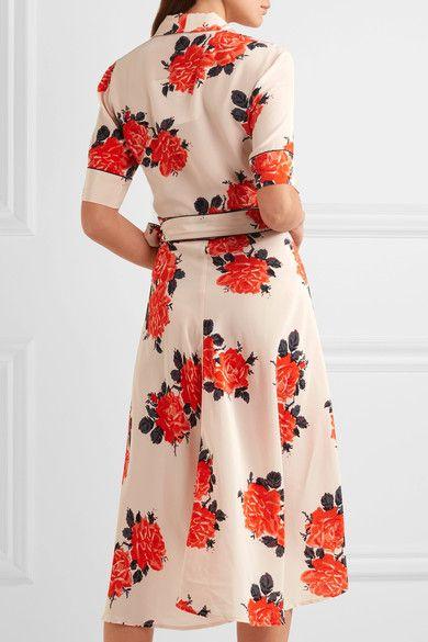 Floral-print Crepe De Chine Wrap Dress - Red Ganni r0XOheg