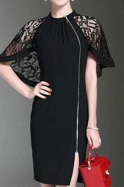 Band Collar Decorative Lace Zips Plain Polyester Bodycon