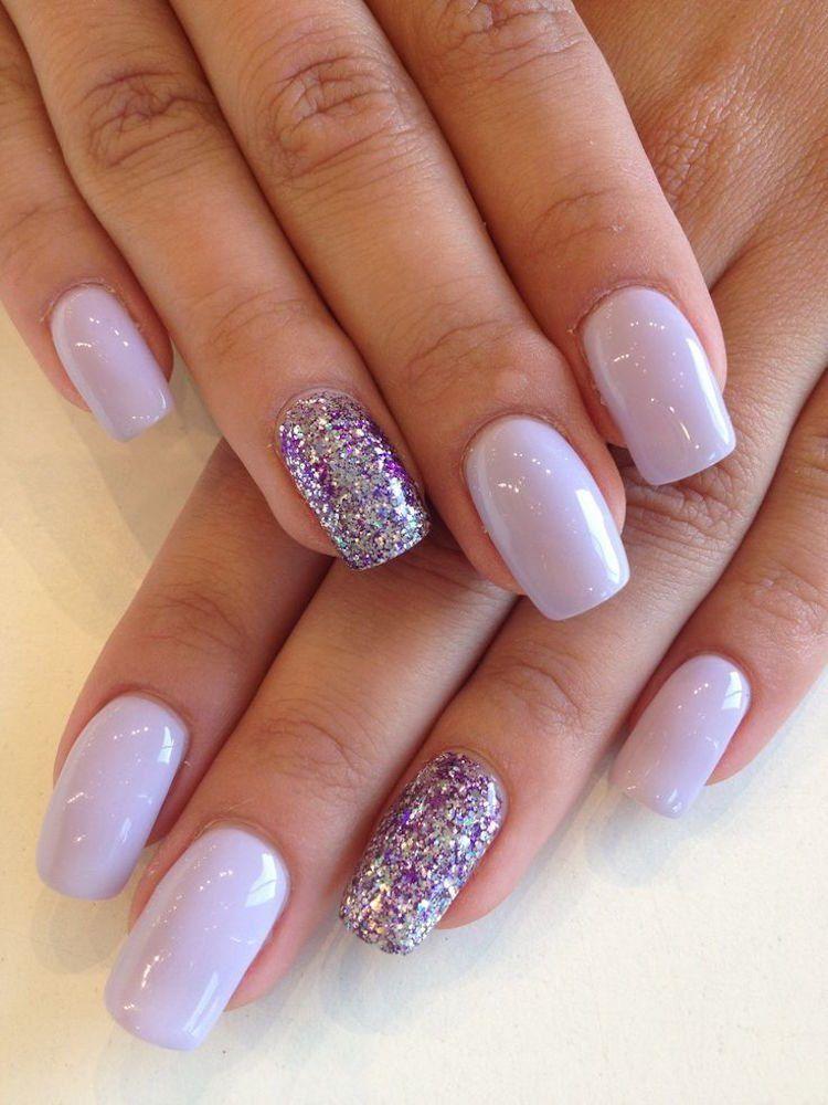 déco ongle gel mauve pâle paillettes annulaires nail decoration