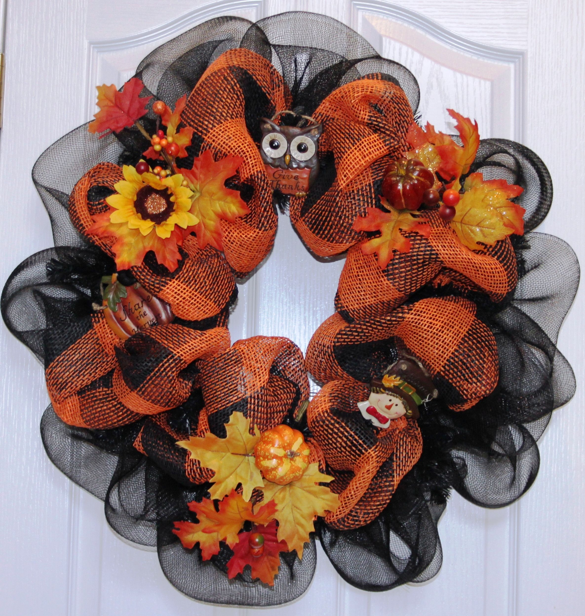 Pottery Barn Style Black Orange Deco Mesh Wreath Deco Mesh Wreaths Fall Wreaths Pottery Barn Style