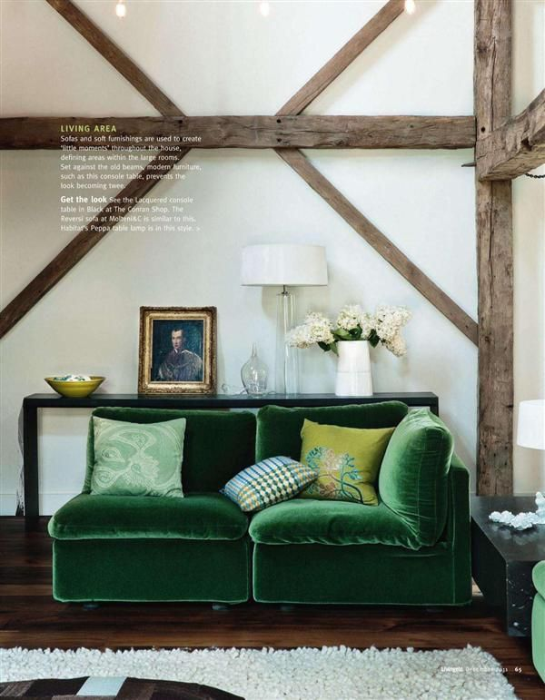 Blue And Forest Green Living Room green velvet sofa--image via @cassandra lavalle | coco+kelley