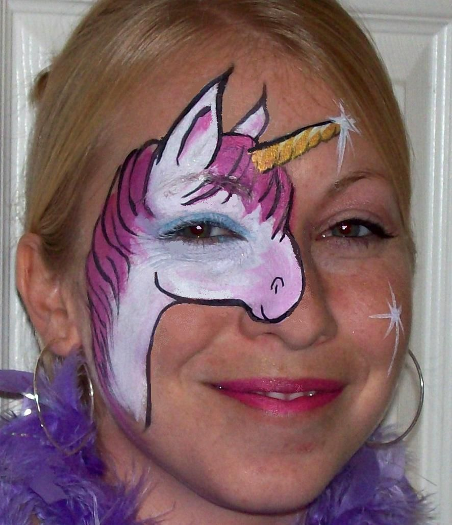 Face Painting Metallic Butterfly Unique Unicorn Happy