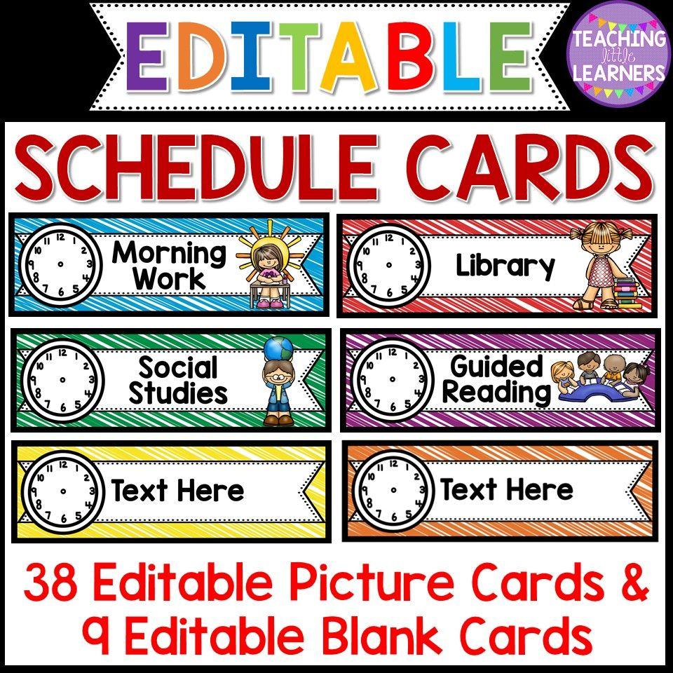 Daily schedule cards schedule cards schedule cards