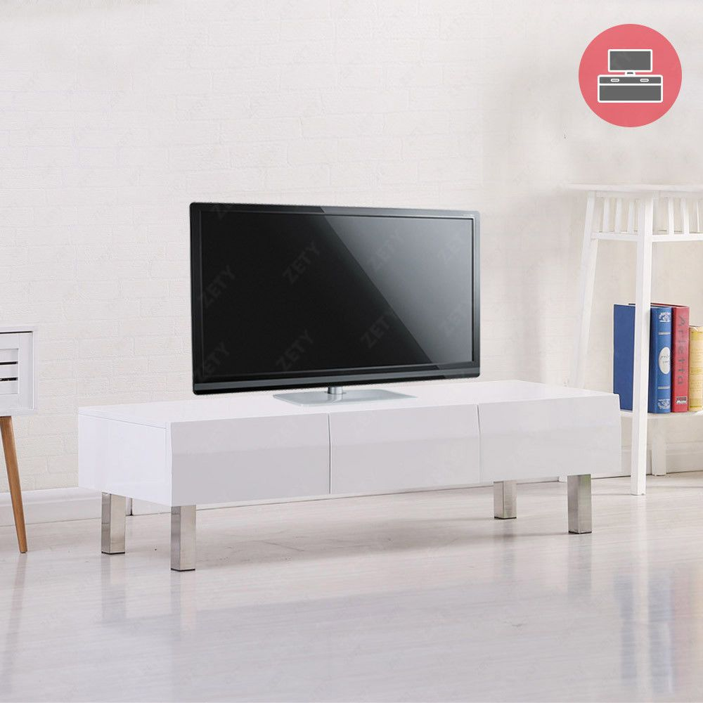 High Gloss White Tv Unit Stand Cabinet With 3 Drawers Chrome Legs Living Room