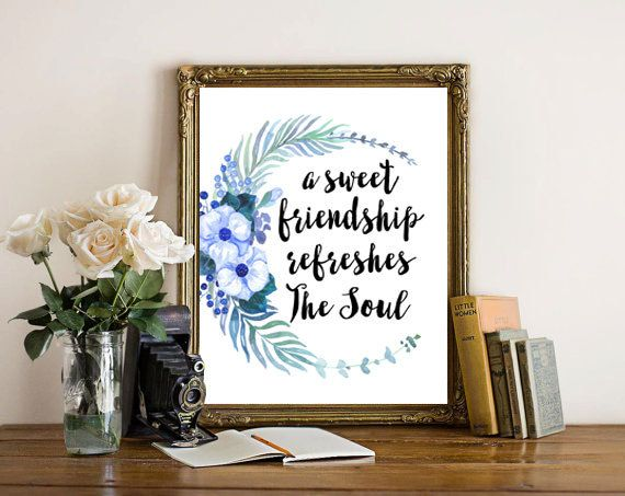 Proverbs 27:9, Floral Art Print, Wall Art Printable, Gifts For Friend, Floral Wall Art, Floral Home Decor, Christian Printable, Bible Verse by boutiqueprintart on Etsy