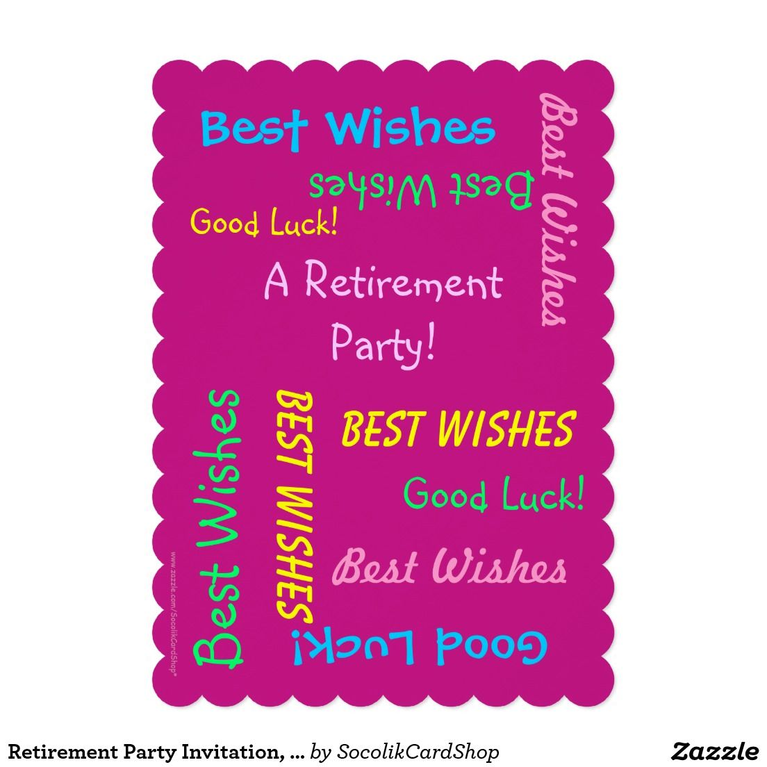 Retirement Party Invitation, Personalized Hot Pink Card | Retirement ...