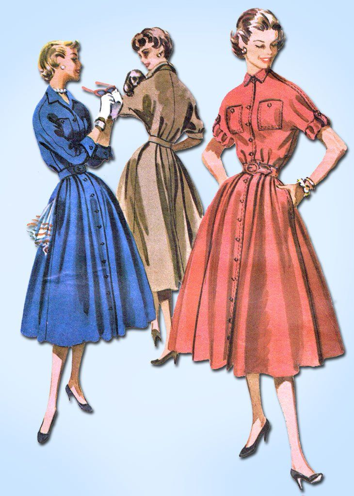 1950s Vintage McCalls Sewing Pattern 3386 Misses Dress w Roll Up Sleeves Sz 32 B