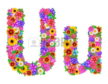 Flower alphabet isolated on white