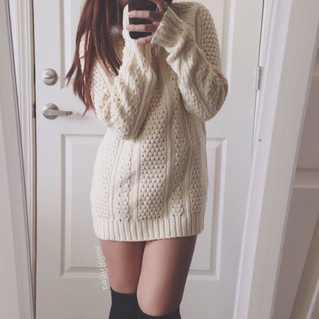 Quotes About Love Relationships: Oversize Sweater, Thigh High Socks