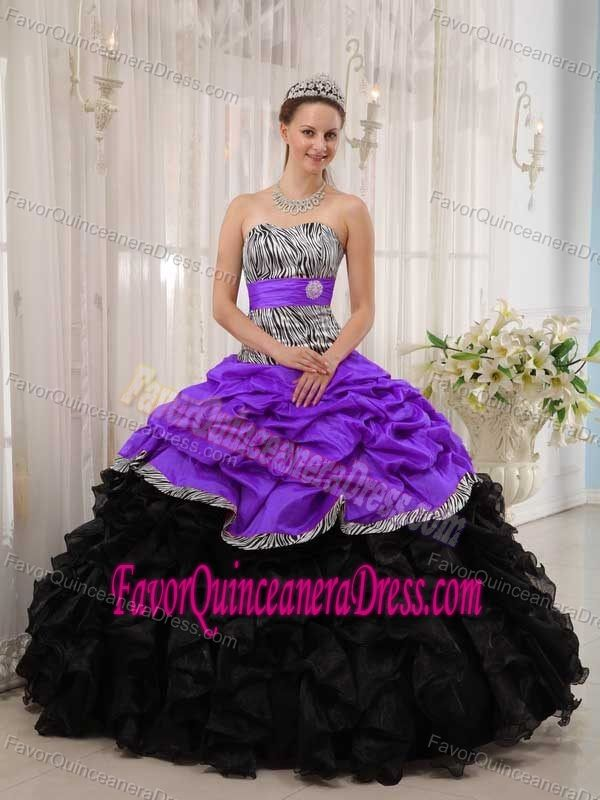 5d80bbee3da Sexy Sweetheart Purple Taffeta and Black Organza Dress for Quince with Pick- ups