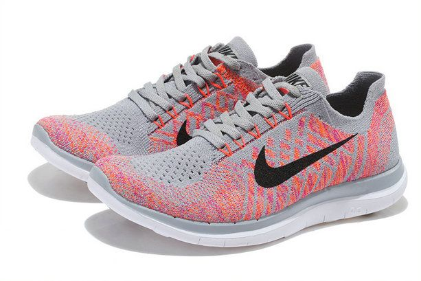 buy online aa087 90501 Nike Womens New Free 4.0 V2 Flyknit 2018 Wolf Grey Black Pink Flash Cool  Grey