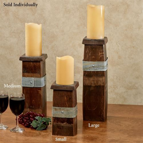 Reclaimed Wine Barrel Stave Candleholder Walnut