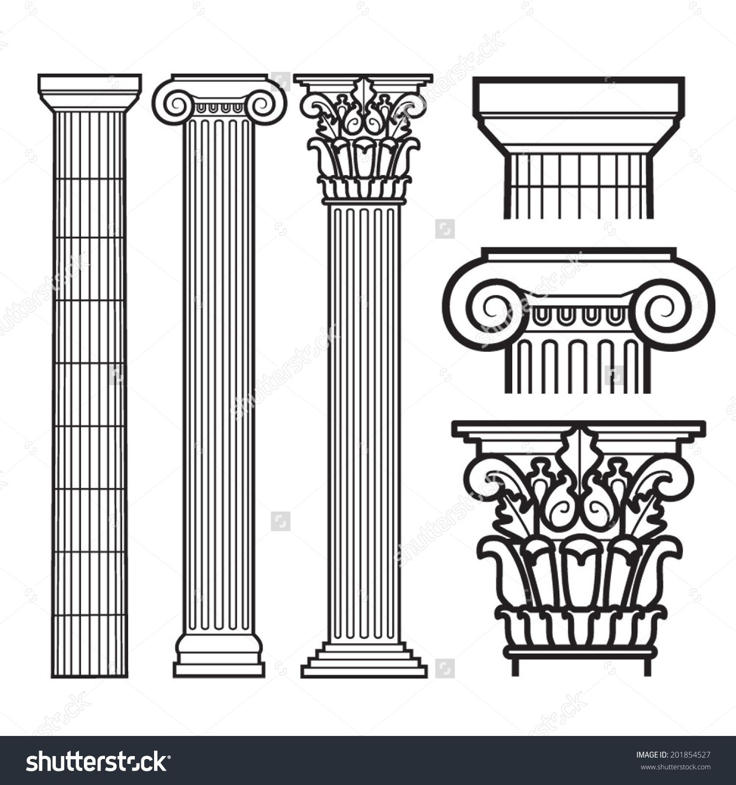 Set Of Doric Ionic And Corinthian Columns