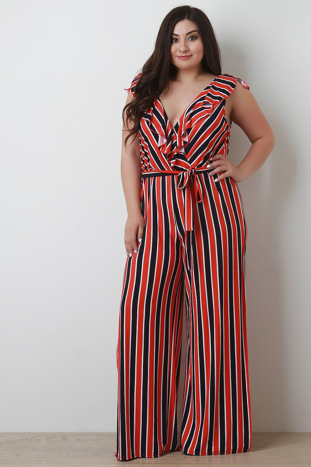 912b22f98b1 This plus size jumpsuit features bold stripes design