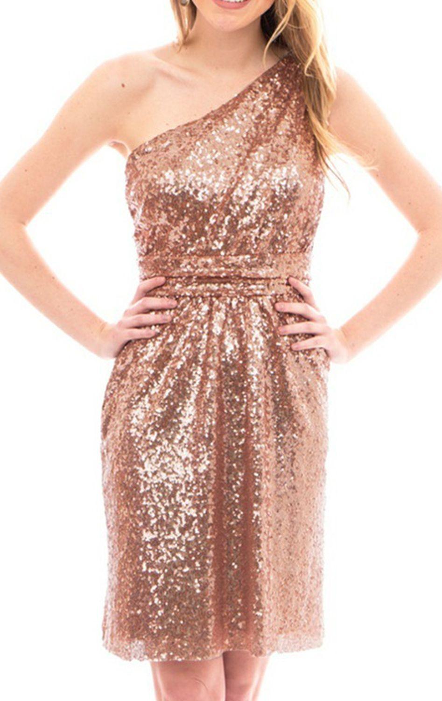 931150da One Shoulder Sequin Short Bridesmaid Dress Rose Gold Cocktail Dress  #macloth #dress #gown #cocktaildress #sequindress #wedding #formaldress  #formalgown ...